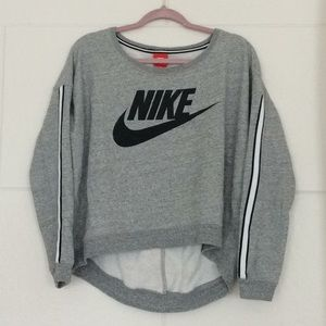 Nike cropped racing stripe hi-low sweatshirt